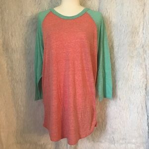 LULAROE Teal & Peach Long Sleeve Randy Tee